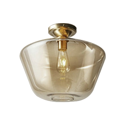 Drum/Vase Ceiling Mounted Fixture with Amber Glass Lampshade Contemporary 1 Light Flush Ceiling Fixture in Brass Finish