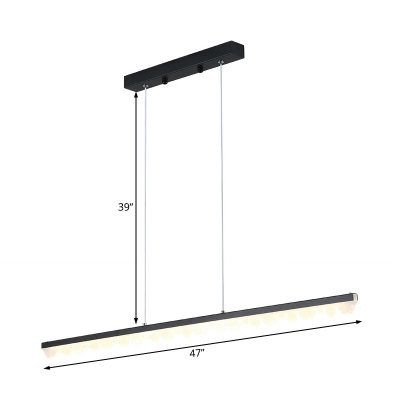 Linear Pendant Lighting Contemporary Metal Black Ceiling Hanging Light in Warm/White, 23.5