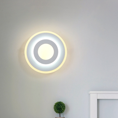 Metal Round/Square Wall Mount Light Minimalist Led Indoor Wall Lighting in White