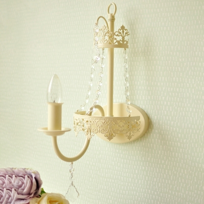 Modern Candle Tapered Shade Wall Light with Clear Crystal Bead 1 Light Fabric Metal Sconce Light for Shop