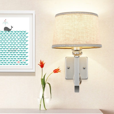 Modern Drum Shade Wall Lamp Fabric and Metal 1 Light Silver Sconce Wall Light for Dining Room HL563193 фото
