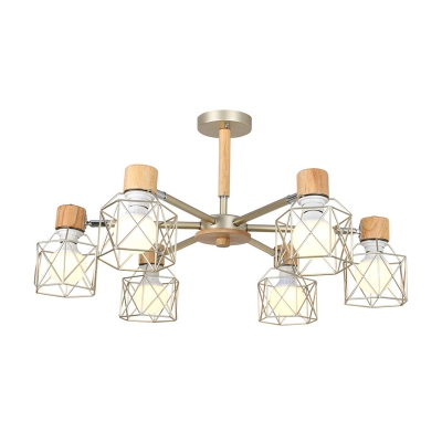 Nordic Wire Frame Semi Flushmount Metal and Wood 3/6/8 Lights Black/Green/Gold Semi Flush Ceiling Light with Radial Design