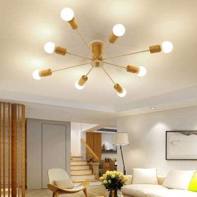 Radial Semi Flush Lighting Mid Century Modern 6/8/10 Light Metal Black/White Ceiling Light in Wood