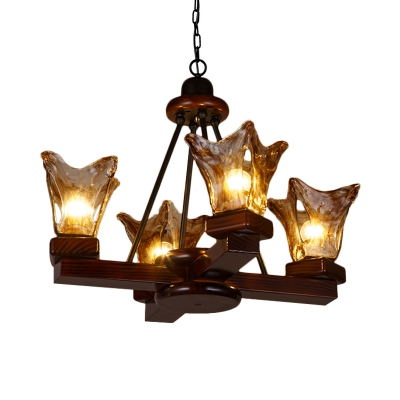 Traditional Chandelier Light with Brown Glass Shade 4/6 Lights Wood Pendant Lamp