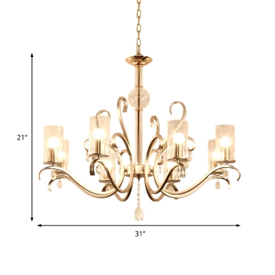 Traditional Cylinder Chandelier Light with Crystal Drop Clear Glass 6/8 Lights Hanging Light in Gold