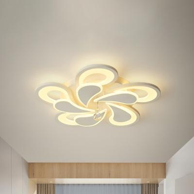 White Bloom Flush Light 2 Tiers 10 12 16 20 Lights Metal Modern Flush Mount Ceiling Light In Warm White Beautifulhalo Com