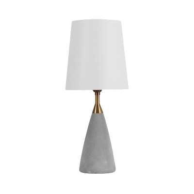 White Fabric Tapered Shade Table Light with Conical Cement Lamp Base Loft Standing Table Light