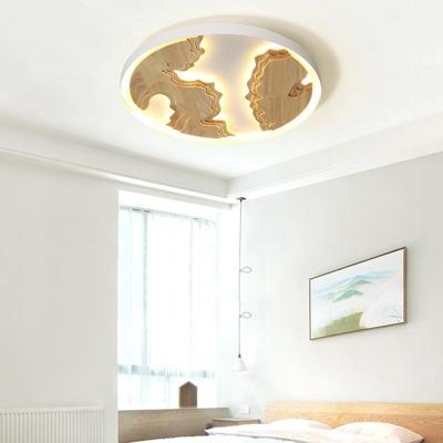 White/Gold Round Flush Ceiling Light Modern Metal 16