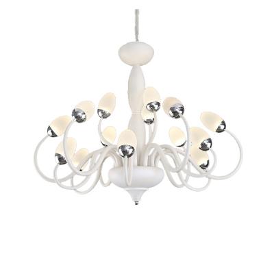15/22 Lights Contemporary Chandelier Lighting Metal Led Living Room Hanging Ceiling Light in White