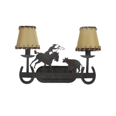 2 Lights Conical Wall Mount Light with Animal Accents Wrought Iron Indoor Wall Lamp for Restaurant