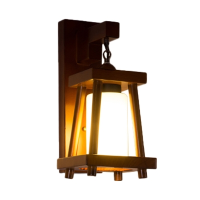 Bamboo Globe/Cylinder Wall Lighting Traditional 1 Light Wall Light Fixture in Wood for Porch