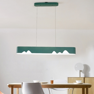 Black/Green/White Linear Ceiling Pendant Modern Nordic Metal Led Chandelier Light in Warm/White, 35.5