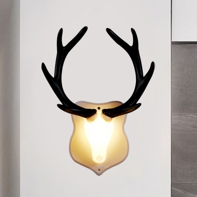 Blue/White Deer Wall Sconce Lamp with Black/White Antler Country Style 1 Light Plastic Led Wall Light Fixture