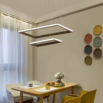 Coffee Brown Tiered Chandelier Lamp Modern Metal Led Rectangle Hanging Light