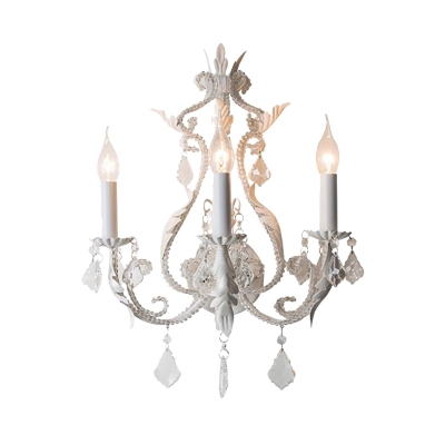French Country Sconce Lighting with Candle Metallic Indoor Distressed Wall Light in Grey/Off-white/White