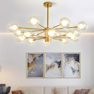 Gold Starburst Hanging Lamp Modern Metal 10/12/16 Bulbs Ceiling Chandelier with Clear Glass Shade