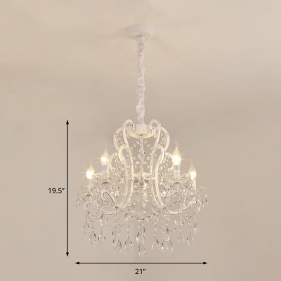 Gold/White Candle Hanging Chandelier Traditional Metal 4/5/6/8 Lights Lighting Fixture for Living Room
