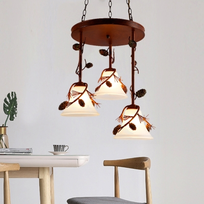 Loft Style Bell Pendant Lighting Frosted Glass 3 Lights Foyer Chandelier Lamp in Red Brown