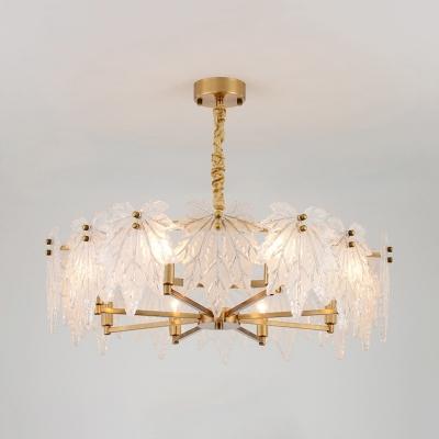 Maple Leaf Chandelier Lighting Rustic Frosted Glass 6/8 Lights Living Room Lighting in Gold