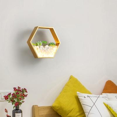 Metal Hexagon Wall Mount Light with Artificial Succulents LED Modern Wall Light Fixture