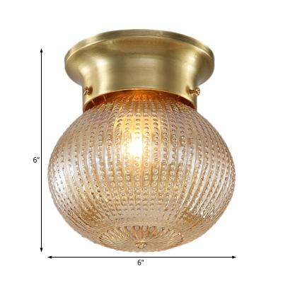 Mini Globe Flush Ceiling Light Clear Prismatic Glass Single Light Flushmount Lighting in Brass, 6