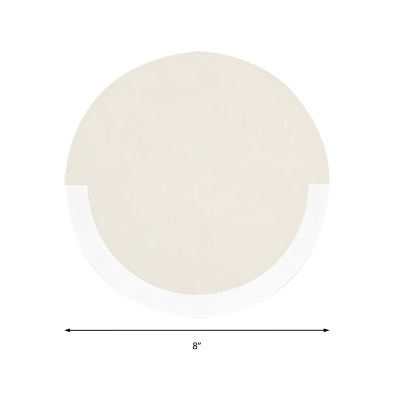 Minimalist Round Wall Light Fixture Gold/White Metal Led Wall Lighting in Warm/White