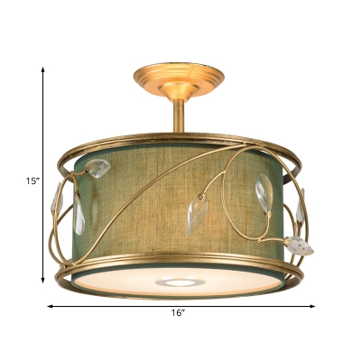 Traditional Round Semi Flush Lighting 3 Bulbs Ceiling Light Fixture with Green/Army Green Fabric Shade