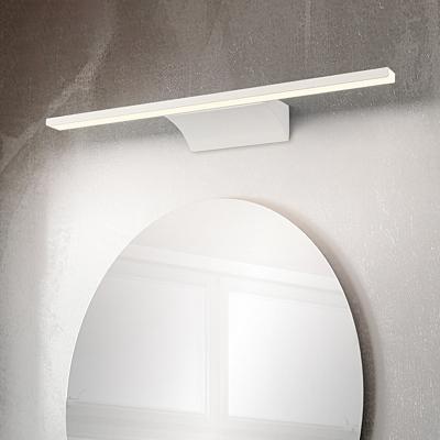White Rectangle Vanity Lighting Modern Simple Metal Led Bathroom Lighting in Neutral
