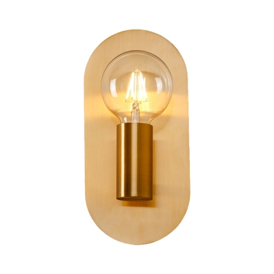 1 Head Exposed Bulb Wall Mount Lamp with Oval Metal Backplate Post Modern Wall Lighting in Gold