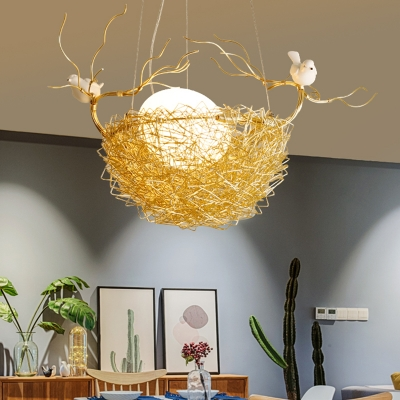 1 Light Nest Hanging Ceiling Light with Oval Frosted Glass Shade Post Modern Pendant Lighting in Brass