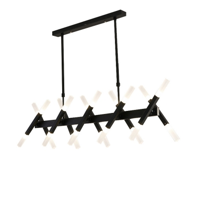 16/20 Lights Linear Island Chandelier with Opal Glass Shade Contemporary Kitchen Island Lighting in Black/Gold