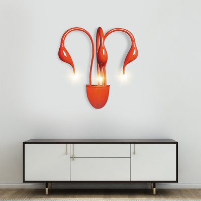 3/5 Lights Swan Wall Lighting Contemporary Metal Wall Sconce Light in Black/Red/White