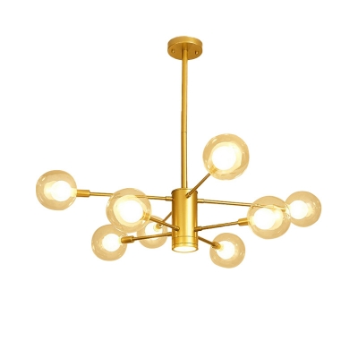 6/8 Heads 2 Tiers Pendant Light Mid Century Metal Branch Chandelier in Gold with Bubble Glass Shade