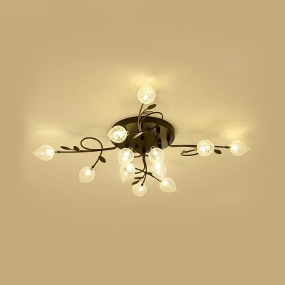 8/12/16/20 Bulbs Branch Ceiling Mounted Fixture with Seeded Glass Shade Vintage Flush Ceiling Light in Black/Gold