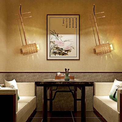 Bamboo Wall Lighting with Erhu Shaped Chinese Style 1 Bulb Wall Mount Light in Natural Wood Finish