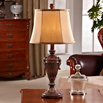 Bell Table Lighting Loft Rustic Style 1-Light Fabric Table Lamp with Urn Lamp Base