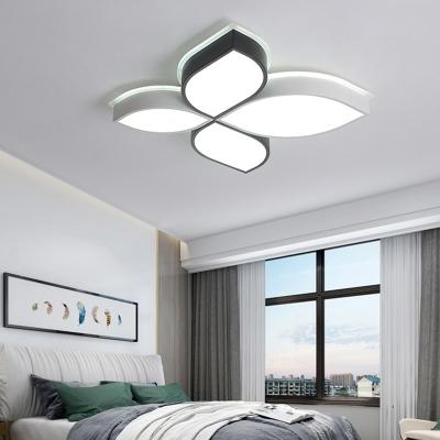 Black and White Leaf Ceiling Flush Light Simple Modern Led Flush Lighting for Bedroom