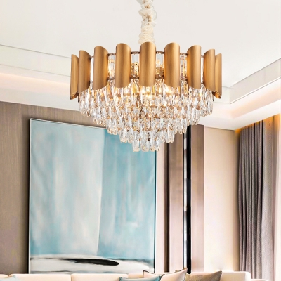Brass Geometric Pendant Light Fixture Modern Crystal Metal Hanging Chandelier Light in Brass for Indoor HL562485 фото