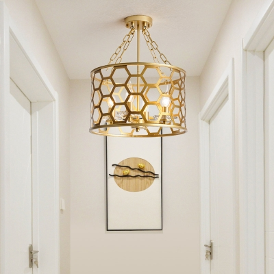 Brass Honeycomb Pendant Light with Drum Metal Shade 4/6 Lights 16