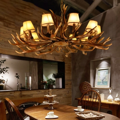Conic Ceiling Pendant Light with Antlers Vintage Resin 10 Lights Chandelier Light in Brown