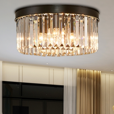 Contemporary Black LED Flush Mount Light Drum Shape 4/6/8 Lights Clear Crystal Ceiling Lamp for Bedroom