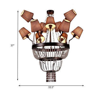 Country Style Living Room Lighting with Brown Fabric Shade 12 Lights Empire Chandelier Lamp