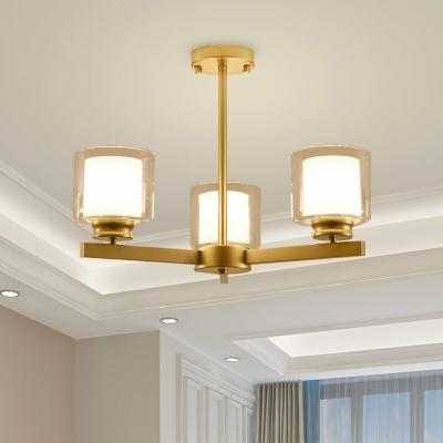 Cylinder Chandelier Light with Radial Design Modernism Clear Glass 3/6/8/10-Light Indoor Lighting in Black/Gold/Silver