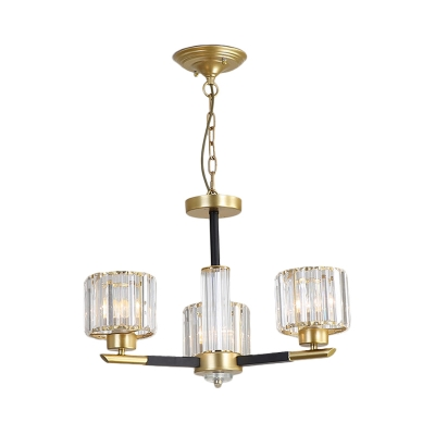 Drum Pendant Lamp with Radial Design 3/6/8 Lights Clear Crystal Vintage Chandelier in Gold
