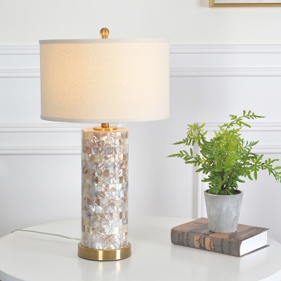 Drum Table Lamp with Shell Lamp Base 1 Light Flaxen Shade Vintage Table Lighting in Brass Finish