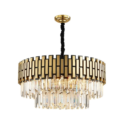 Gold Round Hanging Chandelier Contemporary Metal Crystal Pendant Lights for Living Room