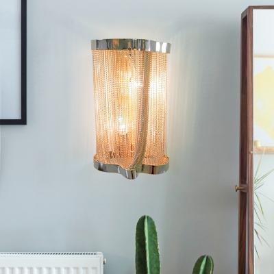 Living Room Tassel Sconce Wall Light Metal 2 Heads Postmodernism Sconce Light in Gold/Silver