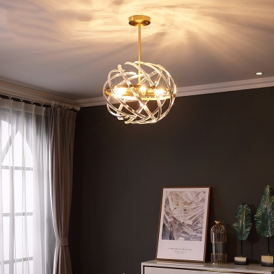 Metal Sphere Hanging Light Fixture 6 Lights Traditional Pendant Lamp for Living Room