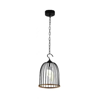 Metallic Birdcage Pendant Lamp Height Adjustable 1 Light Foyer Hanging Ceiling Light in Black