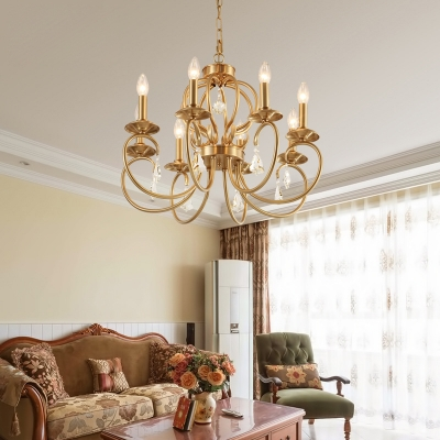 Traditional Candle Hanging Lamp with Curved Arm Metal 6/8 Lights Ceiling Chandelier in Gold